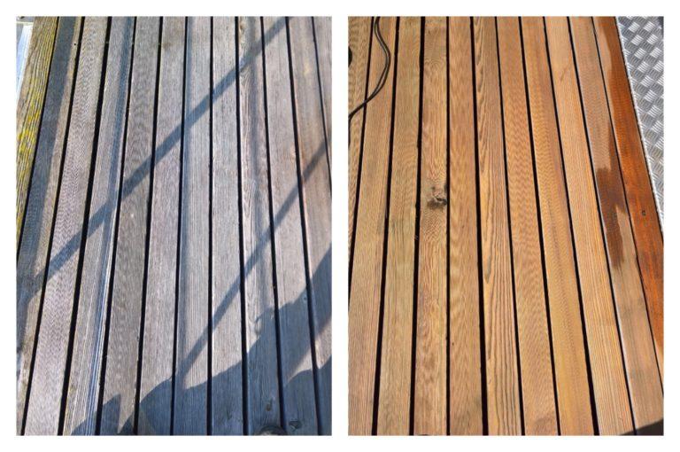 Terrassenreinigung - vorher und nachher